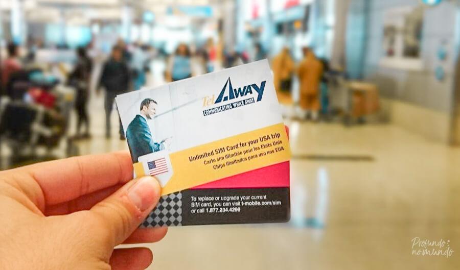 Com a TelAway, recebemos um chip ainda no Brasil e já chegamos nos EUA conectados.