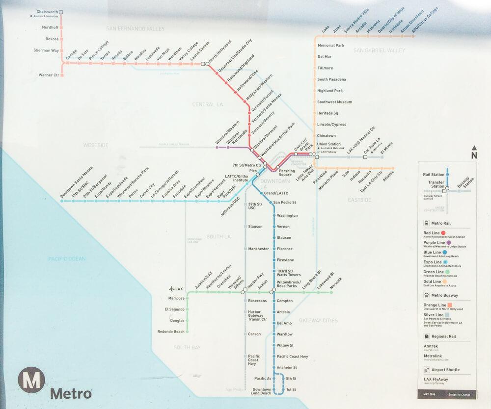 Mapa do metrô de Los Angeles.